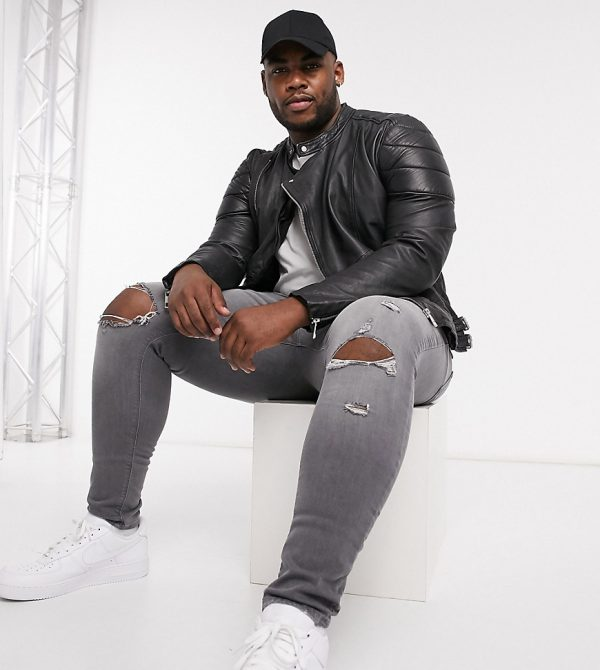 ASOS DESIGN Plus leather jacket in black with quilting