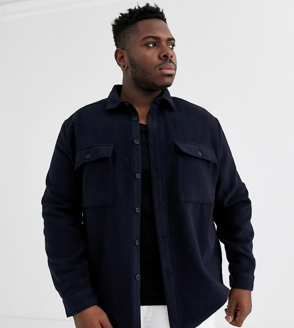ASOS DESIGN Plus navy wool mix overshirt with double pockets