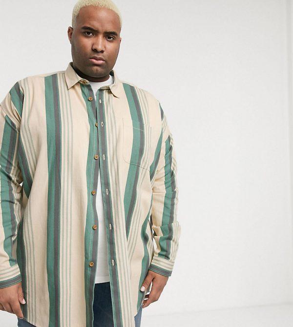 ASOS DESIGN Plus oversized 90s stripe in vintage green