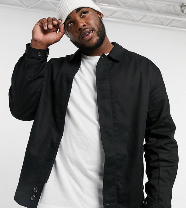 ASOS DESIGN Plus oversized Harrington jacket with storm flap in black