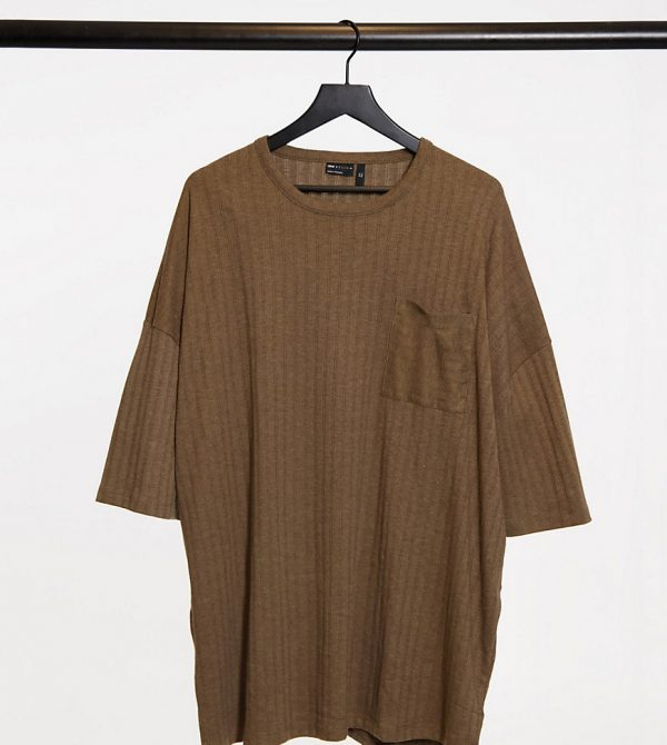 ASOS DESIGN Plus oversized heavyweight ribbed T-shirt in brown