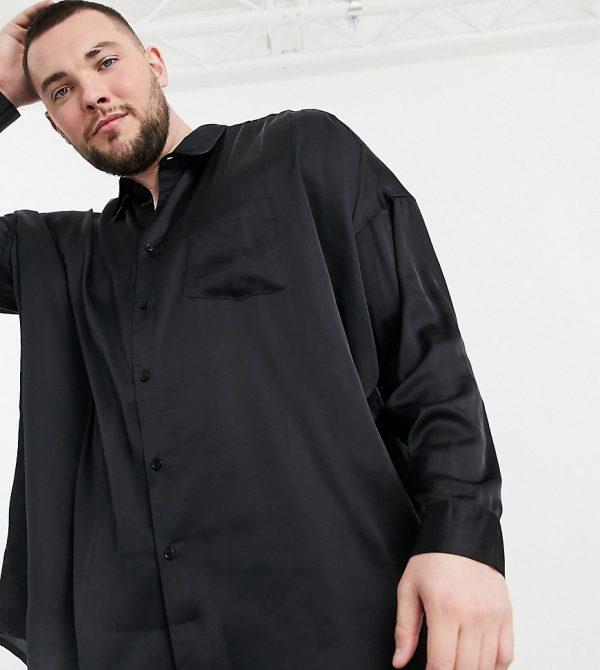ASOS DESIGN Plus oversized satin shirt in black