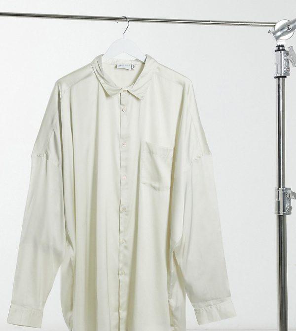 ASOS DESIGN Plus oversized satin shirt in champagne-Beige