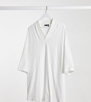ASOS DESIGN Plus oversized t-shirt with v neck in white