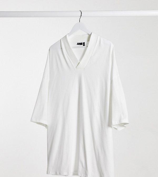 ASOS DESIGN Plus oversized t-shirt with v neck in white