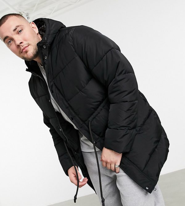 ASOS DESIGN Plus puffer jacket with drawcord waist in black