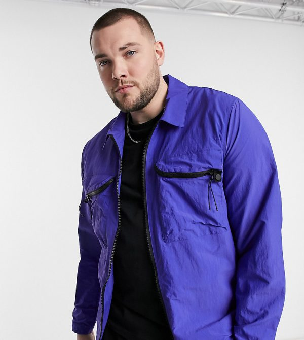 ASOS DESIGN Plus quilted jacket with chest pocket in blue