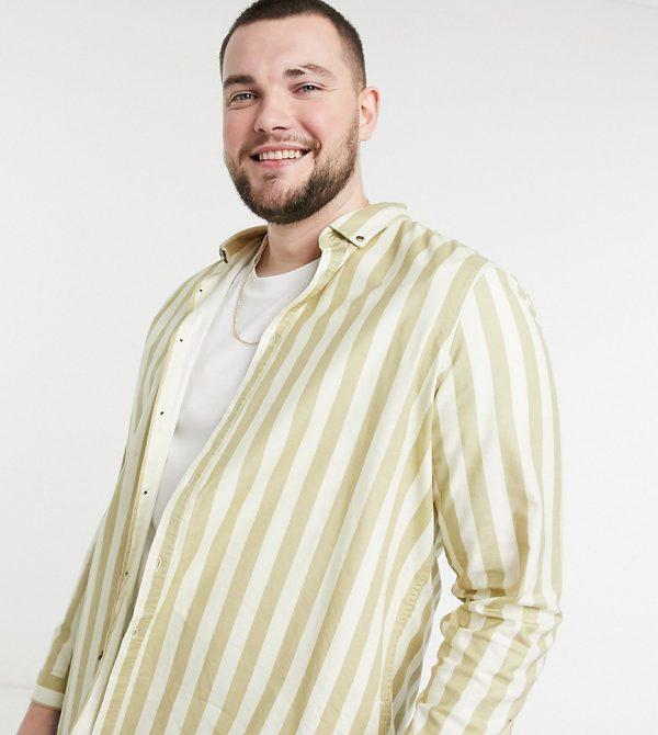 ASOS DESIGN Plus regular fit oxford stripe shirt in beige