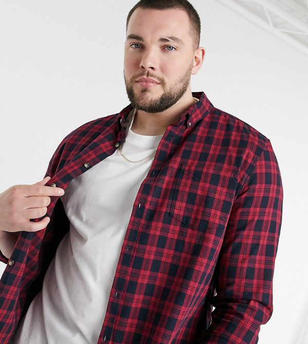 ASOS DESIGN Plus regular fit plaid shirt in red