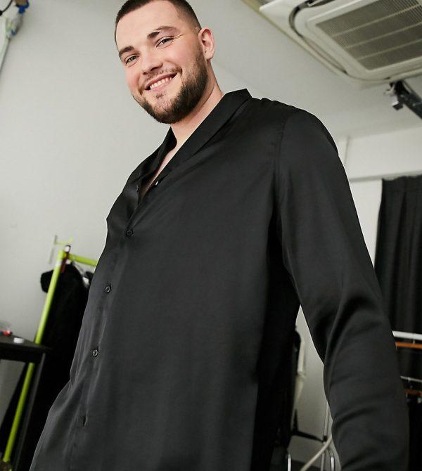 ASOS DESIGN Plus regular fit satin shirt with shawl neck in black