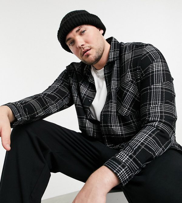 ASOS DESIGN Plus regular fit shirt in black and white grindle plaid
