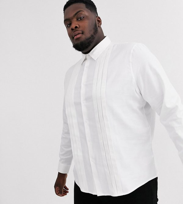 ASOS DESIGN Plus regular fit textured shirt with pleat detail in white