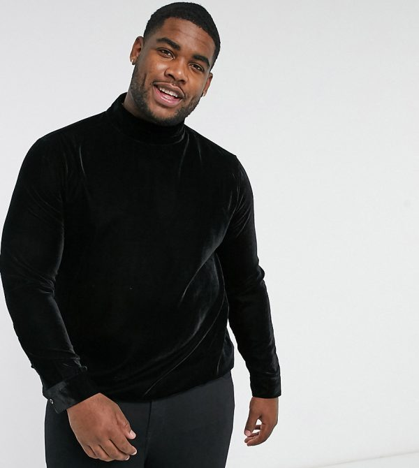 ASOS DESIGN Plus regular fit velvet shirt with pussybow tie neck in black