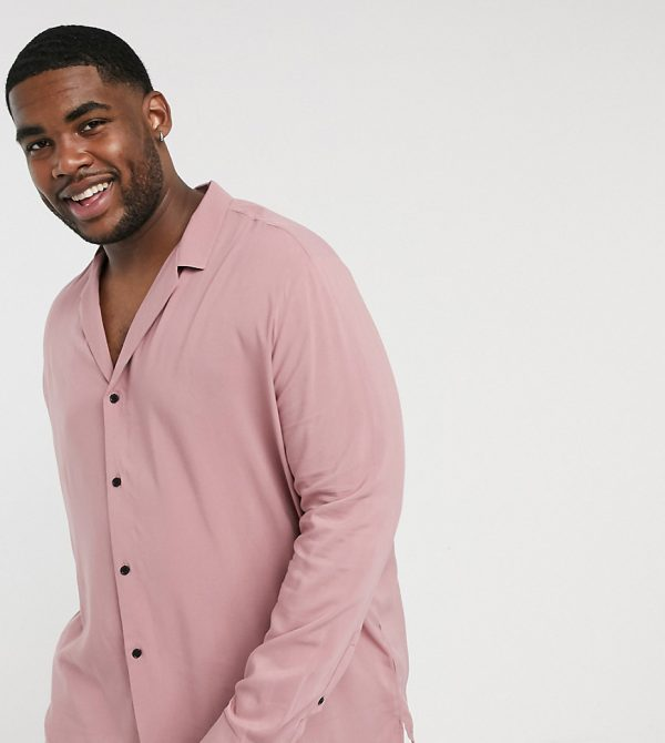 ASOS DESIGN Plus relaxed fit viscose shirt with low camp collar in pink