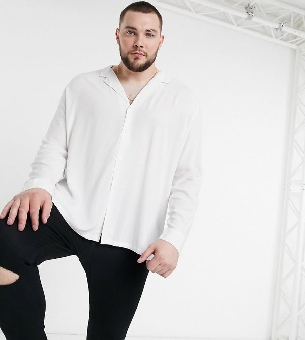 ASOS DESIGN Plus relaxed fit viscose shirt with low camp collar in white