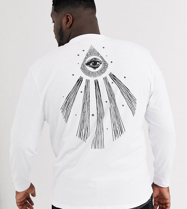 ASOS DESIGN Plus relaxed long sleeve t-shirt with mystical style large back print-White