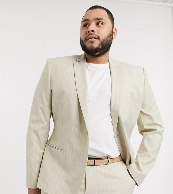 ASOS DESIGN Plus skinny suit jacket in stone pinstripe
