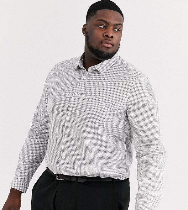 ASOS DESIGN Plus slim fit black and white grid shirt