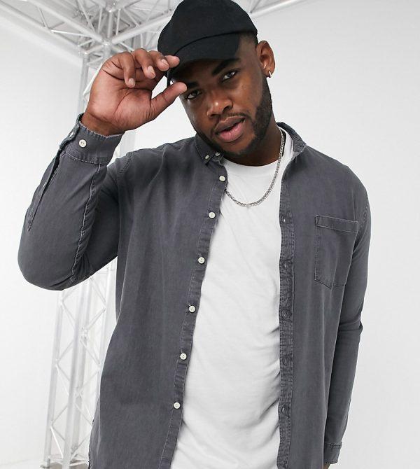 ASOS DESIGN Plus slim fit organic denim shirt in washed black-Grey