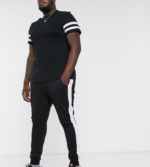 ASOS DESIGN Plus super skinny sweatpants with side stripe-Black