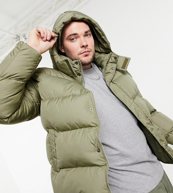 ASOS DESIGN Plus sustainable puffer jacket with detachable hood in khaki-Green