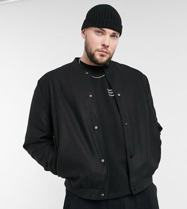 ASOS DESIGN Plus varsity jacket in faux wool in black