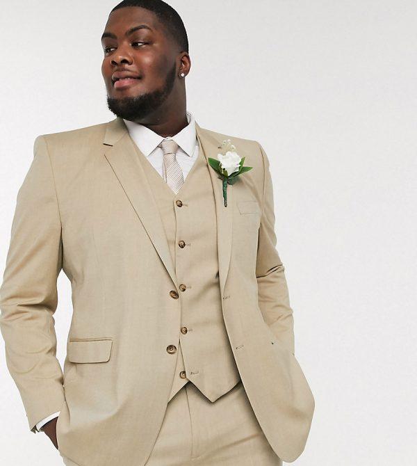 ASOS DESIGN Plus wedding slim suit jacket in stone