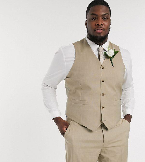 ASOS DESIGN Plus wedding slim suit vest in stone
