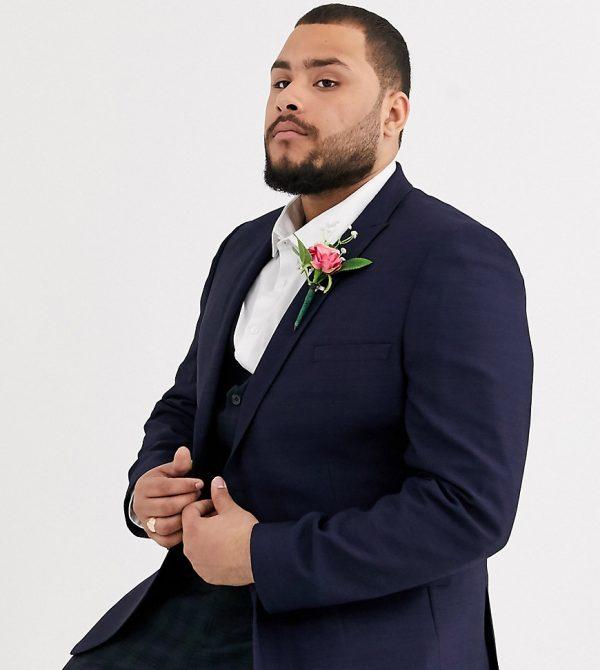ASOS DESIGN Plus wedding super skinny blazer in navy twill