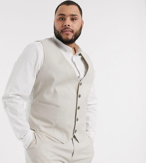 ASOS DESIGN Plus wedding super skinny suit suit vest in stretch cotton linen in stone