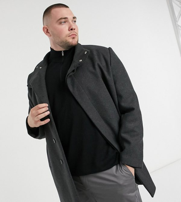 ASOS DESIGN Plus wool mix coat with funnel neck in charcoal-Black