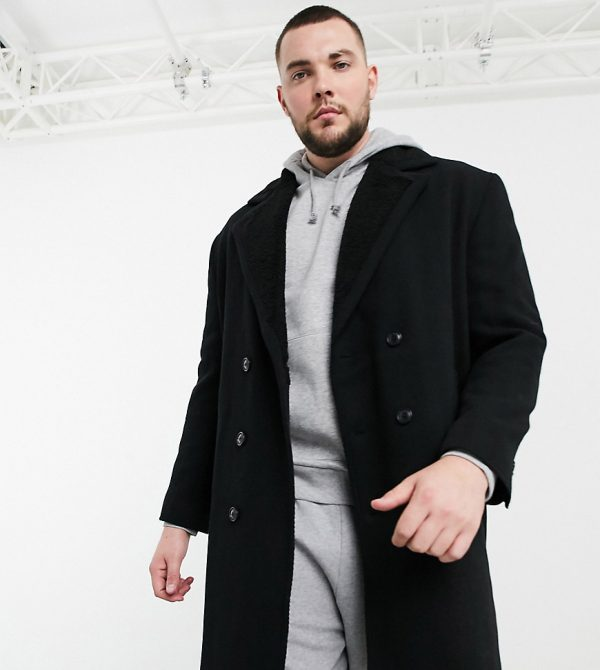 ASOS DESIGN Plus wool mix coat with teddy lining in black