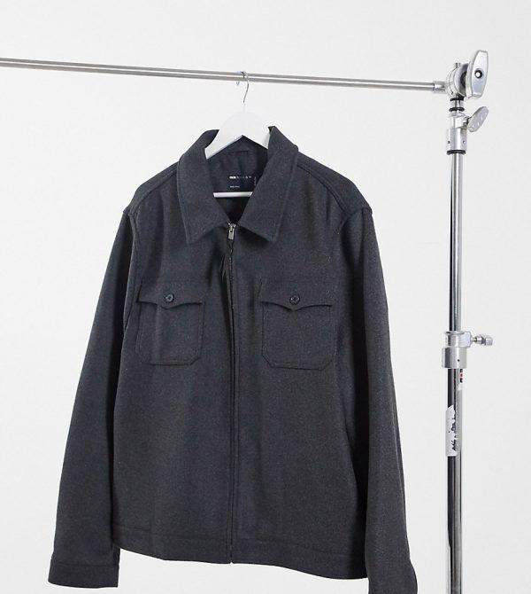 ASOS DESIGN Plus wool mix harrington jacket in gray-Grey