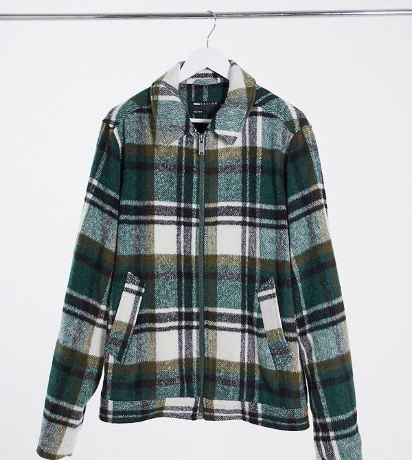 ASOS DESIGN Plus wool mix harrington jacket in green and ecru plaid