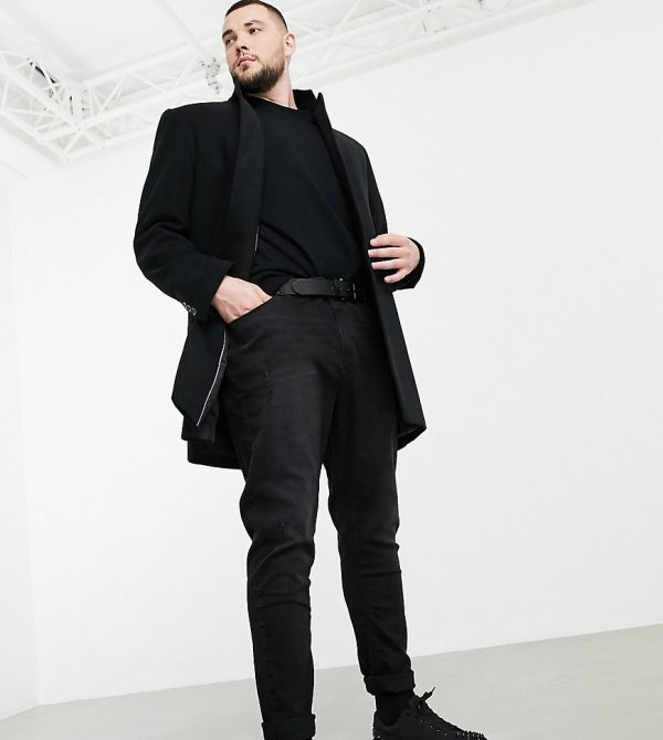 ASOS DESIGN Plus wool mix overcoat with inverted lapel in black