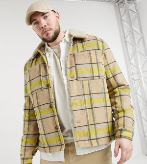 ASOS DESIGN Plus wool mix shacket with quilted lining in yellow and ecru plaid