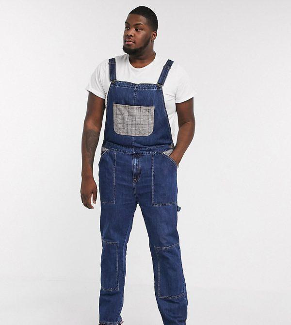 ASOS DESIGN Plus worker denim overalls in dark wash blue with check pockets