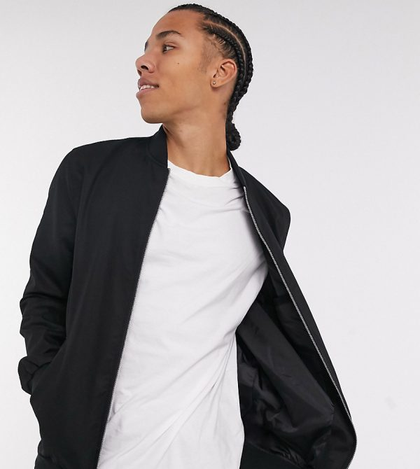 ASOS DESIGN Tall bomber jacket with MA1 pocket in black