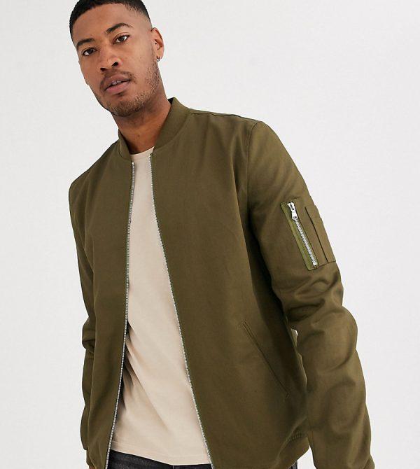 ASOS DESIGN Tall bomber jacket with MA1 pocket in khaki-Green