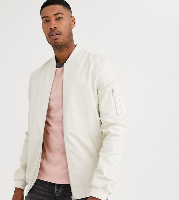 ASOS DESIGN Tall bomber jacket with MA1 pocket in stone-Beige