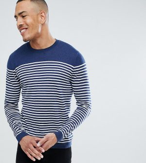 ASOS DESIGN Tall breton stripe sweater in navy