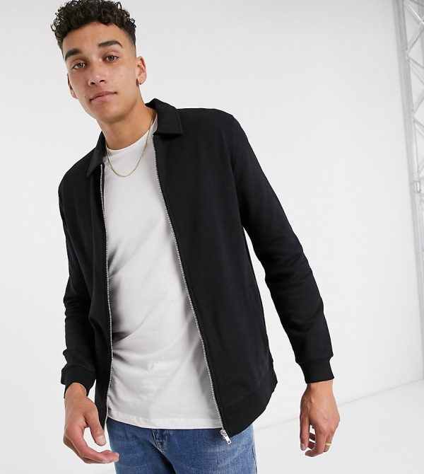 ASOS DESIGN Tall jersey harrington jacket in black with silver zips