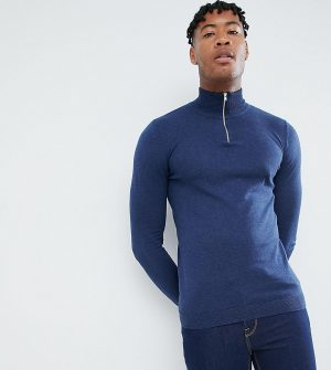 ASOS DESIGN Tall knitted half zip sweater in navy