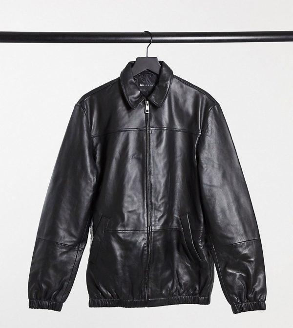ASOS DESIGN Tall leather harrington jacket in black