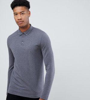 ASOS DESIGN Tall long sleeve pique polo with button down collar in gray