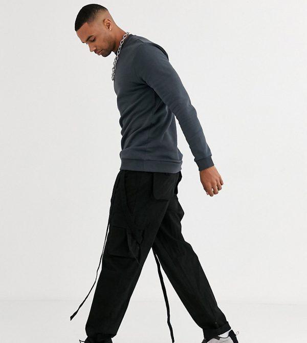 ASOS DESIGN Tall longer length sweatshirt in washed black-Grey