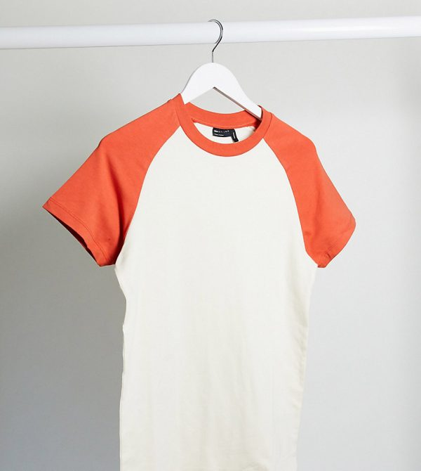 ASOS DESIGN Tall muscle fit t-shirt with contrast raglan sleeves in white and red-Multi