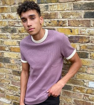 ASOS DESIGN Tall muscle fit waffle t-shirt with ringer washed purple