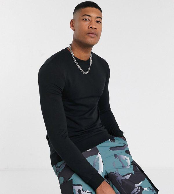 ASOS DESIGN Tall muscle sweatshirt in black