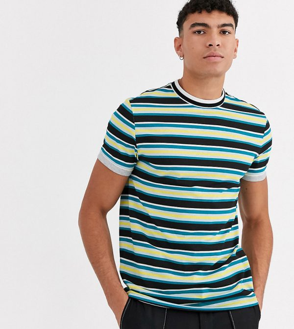 ASOS DESIGN Tall organic cotton stripe t-shirt with tipped neck and roll sleeve-Multi